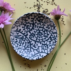 Beautiful Deep Blue Paisley Porcelain Bowl