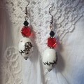 Ink Wash Art Earrings - black ink wash ceramic and red glass beads