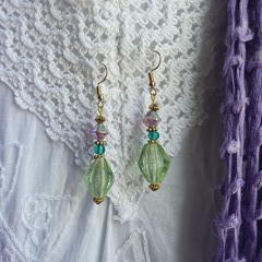 Vintage Mint  Earrings - lilac, turquoise and mint glass beads
