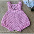 Crochet Cotton Baby Romper,  Rose Pink, size 0-3 months. Soft Australian Cotton.