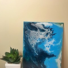 Acrylic pour abstract ocean painting