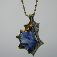 14ct Solid Yellow Gold Blue Sapphire and Diamond Pendant