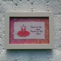 Baby girl cross stitch nursery bedroom art