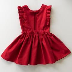 Girls Christmas Dress Red Linen - Linen Toddler Dress - Girls Christmas Outfit