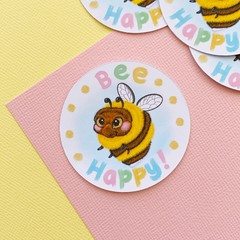 Bee Happy sticker, round sticker, planner sticker, bullet journal sticker