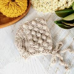 Beige Tweed Crochet Newborn Baby Bobble Bonnet Beanie Hat 0-2 months.
