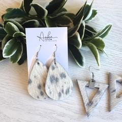 Rustic, Genuine Cowhide Leather Earrings, Silver /White