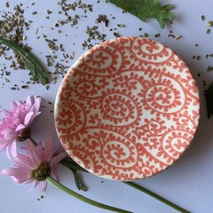 Beautiful Bright Red Paisley Porcelain Bowl