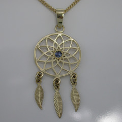 "9ct Yellow Gold ""Dreamcatcher"" Pendant with a Natural Blue Sapphire"