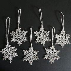 Six Silver Xmas Tree Snowflake Ornaments