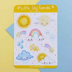 Sky Friends sticker sheet, weather themed stickers, planner stickers, scrapbook
