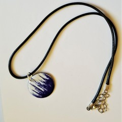 Abstract Cobalt and White Pendant