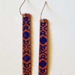 Long Drop Textured Enamel Earrings