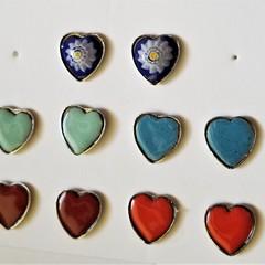 Handcrafted Heart Stud Enamel Earrings