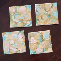 By the Lake Alcohol Ink Coasters
