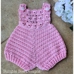 Crochet Cotton Baby Romper,  Rose Pink, size 0-3 months. Soft Australian Cotton.