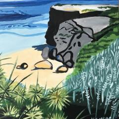 Beach cliffs with Tumbleweed