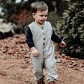 Button Up Baby Romper - Grey Linen Henley Romper - Toddler Overalls