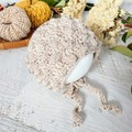 Beige Tweed Crochet Newborn Baby Bobble Bonnet Beanie Hat 0-2 months.