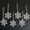 Six Silver Xmas Tree Snowflake Ornaments