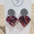 """Trapezoid Drop Dangles - Silver & """"Clueless"""" Pink/Purple Mix"""