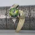 Solid 9ct Gold Green Parti Sapphire and Diamond Ring
