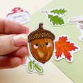 Forest Floor nature die cut stickers, mushroom stickers, leaf stickers