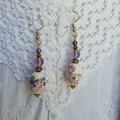 Snow Flower Earrings - fan design ceramic and lavender glass beads
