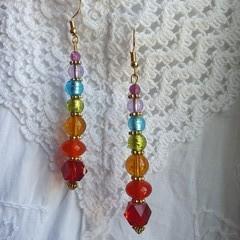 Chakra Spirit Earrings - red, orange, yellow, green, blue, indigo & purple glass