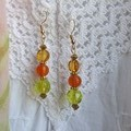 Citrus Drop Earrings - lemon, lime and orange glass beads