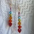 Chakra Spirit Earrings - red, orange, yellow, green, blue, indigo & purple glass
