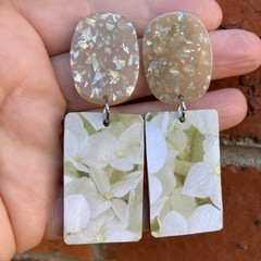 Soft white floral earrings