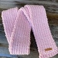 Pink merino long straight winter scarf hand knitted wool