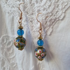 Persian Blue Earrings - handpainted blue and green glass beads