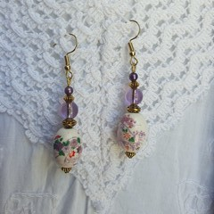 Snow Flower Earrings - fan design ceramic and lavender glass beads