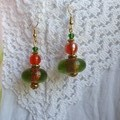 Citrus Liqueur Earrings - green, orange and lime glass beads