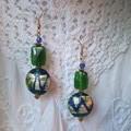 Etty Bay Earrings - blue, green and silver foil lampwork beads