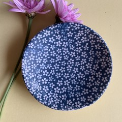 Beautiful White and Blue Daisy Porcelain Bowl