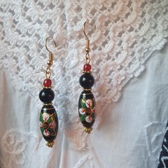Black Lily Earrings - hand painted black and red glass beads