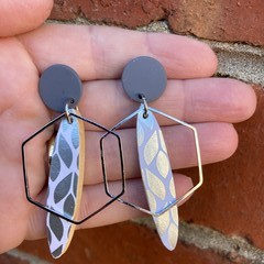 Silver leaf with hexagon accent earrings