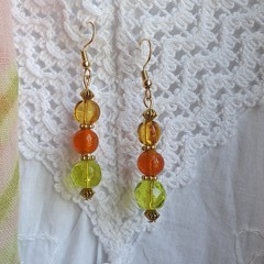 Citrus Drop Earrings - lemon, lime and orange glass beads