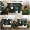 Jasmine Crossbody Bag - Black & White with Potted Plants