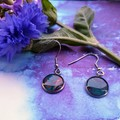 Silver Hypoallergenic Round Drop Earrings in Mixed Colours, Mainly Blue