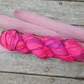 Recycled Silk Sari Ribbon ~ * Recycled Silk from India *~ 100gram Skein Hot Pink