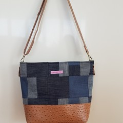 Emily Tote - Patchwork Denim and Tan Vinyl (Slouchy Version)
