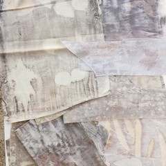 Botanically Printed Fabric Pack #2 - Slow Stitch, Patchwork - Plant-Dyed Fabric