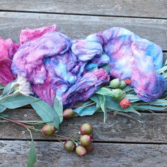 Hand Dyed Pure Silk Hankies~60grams(  Mulberry Silk ) Colorway ~ Silvan Skies.