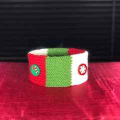 Festive little Christmas  boho collar with two themed buttons and design label