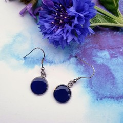 Royal Blue Silver Drops Finished in Resin