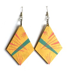 Hand Painted Wooden Yellow Red Statement  Drop Earrings.